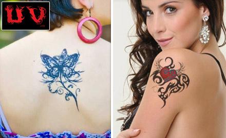 UV Ink Besant Nagar - 88% off on 4 Inch Permanent Black & Grey Tattoo. Get Inked!