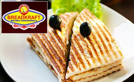 Breadkraft Andheri West - 20% off on a minimum bill of Rs 500. Enjoy chicken tikka pizza, jumbo grill club sandwich, bread roll & more!